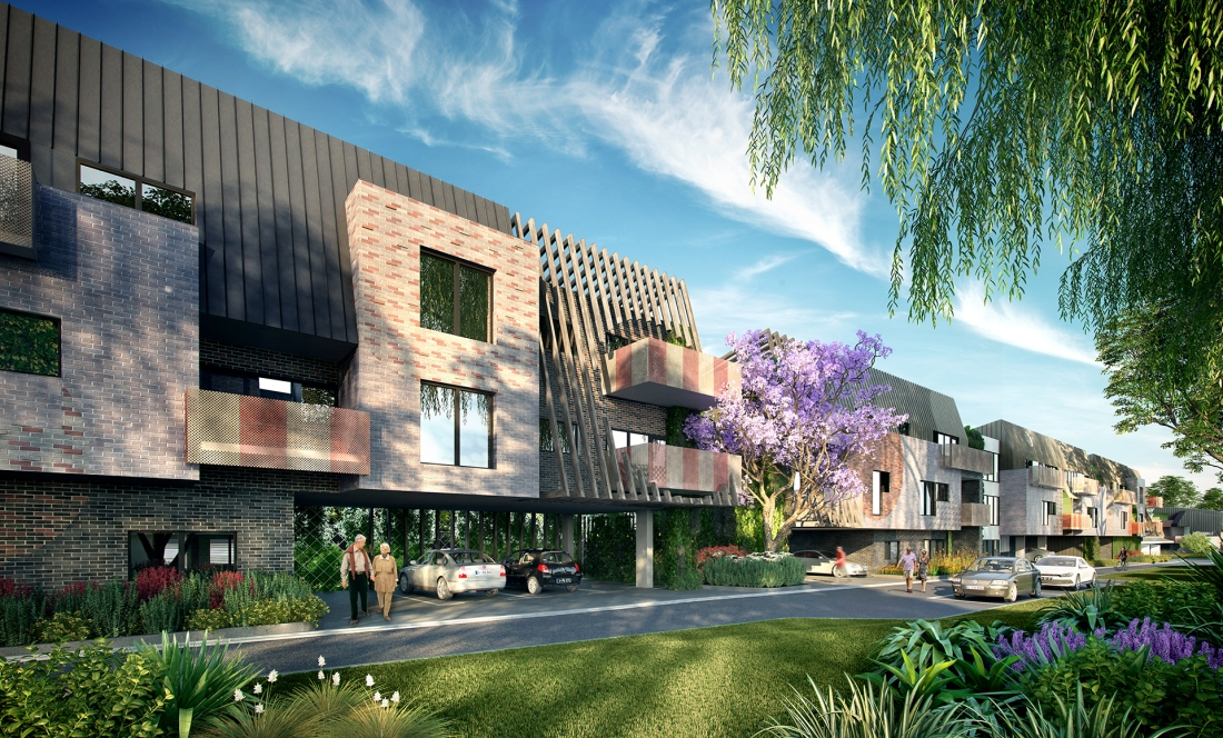 This development is now under construction in the historically significant Rushall Park village, Melbourne. The development provides 35 one and two bedroom units in lifted accommodation for elderly people in need.
